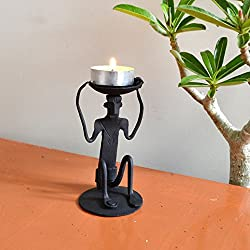 Chinhhari Arts Tribal Wrought Iron Tribal Candle Stand ( Black, 12.065 cm x 6.35 cm x 6.35 cm )