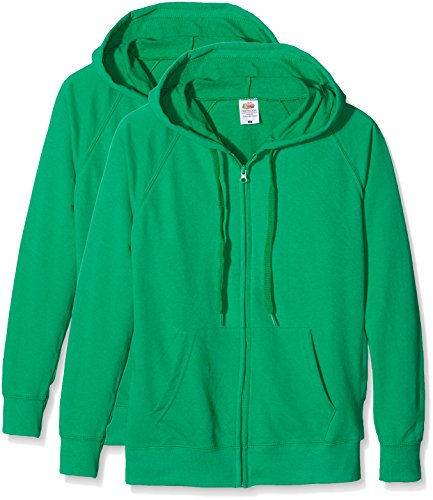 Fruit of the Loom Ladies Lightweight Hooded Jacket, Felpa Donna, Verde (Kelly Green), XL
