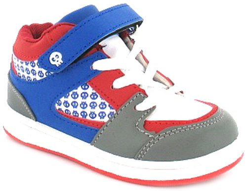 New Boys/Childrens Lace Up Hi-Top Style Trainers, Velcro Fastening - Blue/Grey/Red/White - UK 6-10