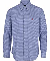 Ralph Lauren Mens Navy / Gingham Checkered Long Sleeve Cotton Shirt Small