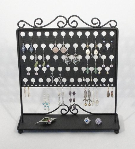 (EATS Black) Angelynn's Vintage Styled Table Top Earring Angel - Pierced Earring Holder & Jewelry Organizer Storage Rack - Earring Tree Display Stand