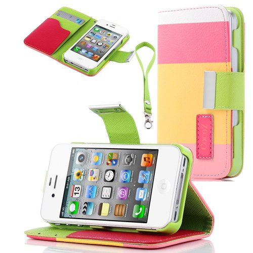 #>>  Cocoz® Colorful Pu Leather Wallet Type Magnet Design Flip Case Cover for Iphone 4 4g 4s Color Diamond Dust Plug (Pink Yellow Green)fs-00298