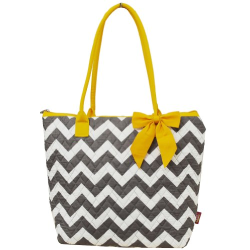 Quilted White & Grey Chevron Print Shopping Tote Bag (YELLOW)