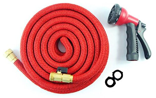 50FT-HEAVY-DUTY-Expandable-Hose-Set-with-8-Function-Rust-free-Nozzle-DOUBLE-Latex-Core-Extra-Strength-Fabric-Solid-Brass-Ends-with-Shut-off-Valve-2016-Design-Warranty-Inc