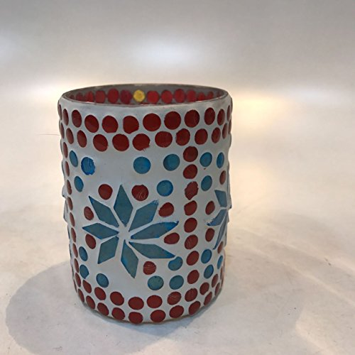 Dlite Crafts Multicolor Polka Design Home Decorative Votive Candle Holder, Set Of 2 PCs - B06XZYTKR6
