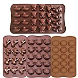 ME.FAN™ 4pc Chocolate Molds - Candy Molds - Silicone Molds - Ice Molds - Silicone Backing Molds DIY Pig Faces - Dinosaur - Happy Faces - Bunny - Duck - Little Bear