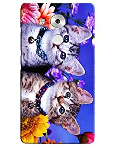 Omnam Two Beautiful Cats Printed Designer Back Case For Huawei Honor Mate 8