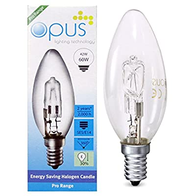 10 x Opus 42w = 60w Candle SES E14 Small Screw Cap Long Life Clear Eco Halogen Light Bulb Dimmable Energy Saving Lamp
