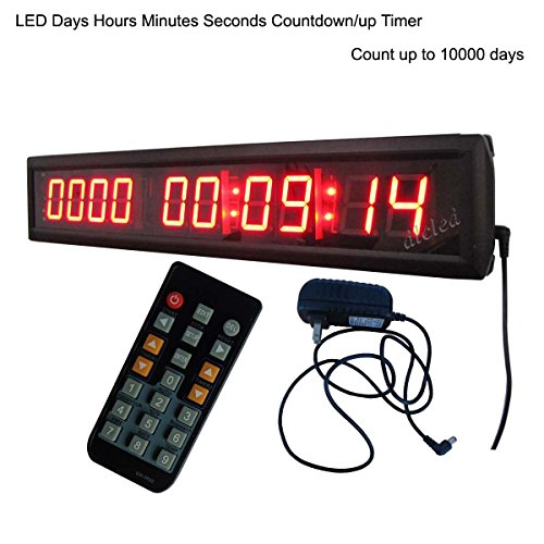 LED Days Countdown Clock Red Color 1.8 10 Digits Count up to 10000 Days with Hours Minutes Seconds LED Large Digital Countdown Clock IR Remote Control Aluminum Case