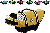 Vivaglory Dog Life Jacket Size Adjustable Dog Lifesaver Safety Reflective Vest Pet Life Preserver, Yellow, Small