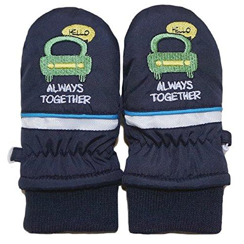 2014年 冬物 くるま刺繍 スノー手袋 ミトン グローブ CAR 車 WARM GLOVES ネイビー 1-2才
