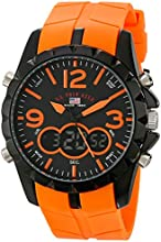 U.S. Polo Assn. Sport Men's US9057 Analog-Digital Black Dial and Orange Rubber Strap Watch