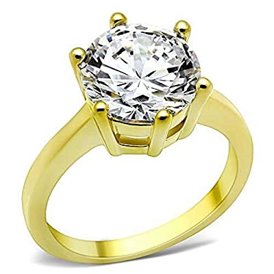 YourJewelleryBox TK1407pb 2.40CT SOLITAIRE ENGAGEMENT SIMULATED DIAMOND RING WOMENS STEEL GOLD