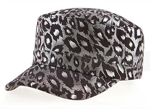[Gumstyle Women Vogue Outdoor Leopard Military Army Style Hat Flat Top Cap Silver] (Leopard Cowboy Hat)