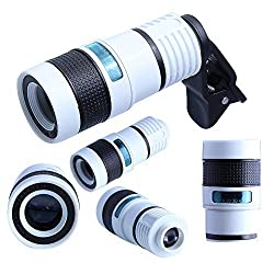 Hatori Universal Clip on 8X Magnifier Optical Zoom Telescope Camera Lens Case Cover Kit For Iphone 6 6plus 5 5S 4 4S, Samsung Galaxy S3 S4 S5 Note 4/3/2,LG, HTC, SONY Smartphones, iPad, Tablet