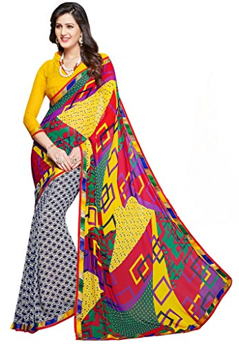Salwar Studio Multicolor Dani Georgette Geometric Printed Daily Wear Sarees