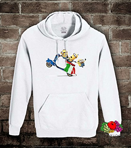 Felpa uomo-donna UNISEX Minions vespa italiana Fruit of the loom