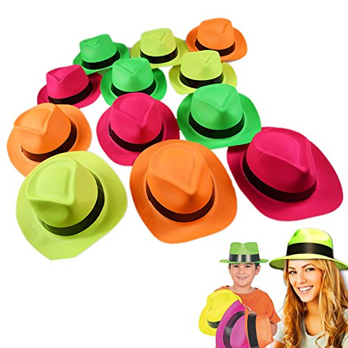 Dazzling Toys Neon Colored Plastic Gangster Hats 12 Pack