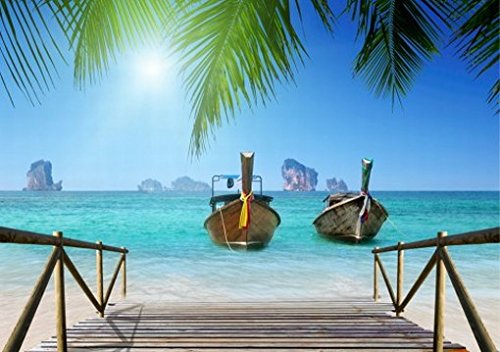 Beaches Poster Photo Wallpaper - Holiday Paradise, Boats And Pier (142 X 100 Inches) front-823012