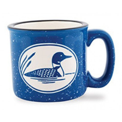 Loon Bird Duck 15 oz. Blue Etched Coffee Latte Tea Cup Camp Mug - Cape Shore