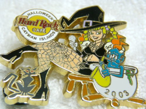 Hard Rock Cafe Halloween, Cayman Islands, Sexy Girl In Witch Outfit with Spiderweb Stockings, Stirring Cauldron, Limited Edition 500, Hologram, Fantasy Lapel Pin