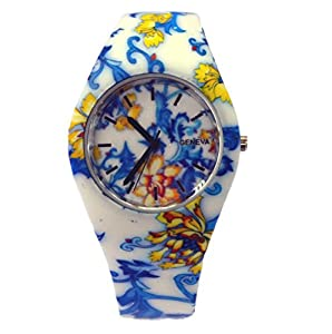 Style Gift Women Ladies Flower Print Rubber Unisex Quartz Watch SG1237-#1