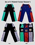 Pushpak Readymades Kid's Stylish Cotton Trousers (Set Of 3)
