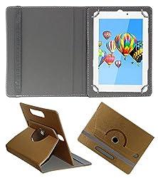 Acm Designer Rotating 360° Leather Flip Case For Digiflip Pro Xt911 Tablet Stand Premium Cover Golden