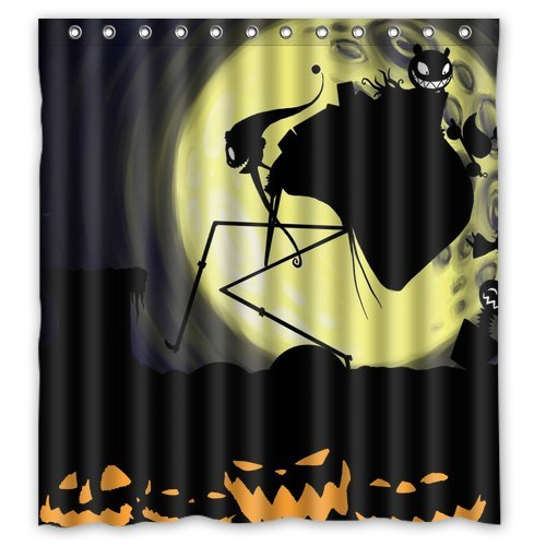 """Anhome Pumkin Demon Moonlight Nightmare Before Christmas Shower Curtain 66""""X 72"""" front-904696"""