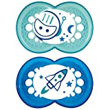 MAM Glow in the Dark Night Orthodontic Pacifier, Boy, 6+ Months, 2-Count