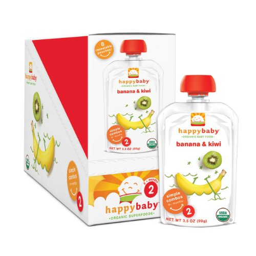 Happy Baby Organic Baby Food 2 Simple Combos, Banana And Kiwi, 3.5-Ounce Pouches (Pack Of 16) front-58784