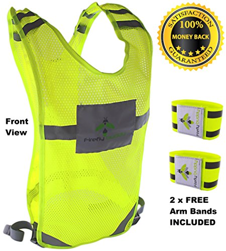 FIREFLY BUDDY Reflective Vest for Running Cycling Walking with Free Elastic Arm Bands Included. High Visibility Adjustable Gear with Back Pocket. (Dog Insulated Vest compare prices)