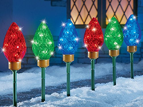 Led Christmas Bulbs Garden Path Light Stakes - Set Of 3