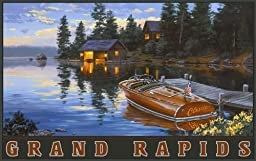 Northwest Art Mall Grand Rapids Minnesota Chris Craft Woody Boat Artwork by Darrell Bush, 11-Inch by 17-Inch