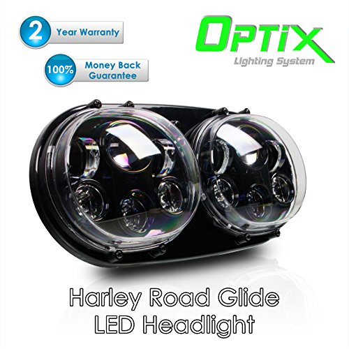 Optix 45W Dual LED Projector Headlight Assembly for Harley Davidson 04-13 Road Glide (Road Glide Headlight Assembly compare prices)