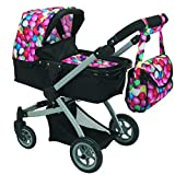 Babyboo Deluxe Doll Pram Color Gumball & Black With Swiveling Wheels & Adjustable Handle And Free Carriage Bag 9651 B Gb
