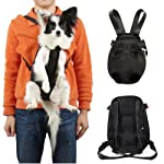 Pet Legs Out Front Style Mesh Dog Cat Carrier/bag Black Backpack -XLarge Size