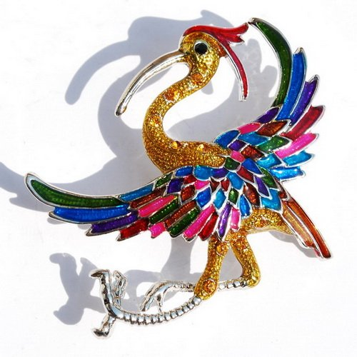 Popular Lady Pin Rhinestone Alloy Brooch Women Party+A Free Bag BIRD