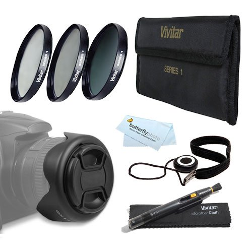 62MM Pro Lens Accessory Kit for Nikon D7100, D7000, D5200, D5100, D3200, D3100, D800, D700, D600, D300S, D90 DSLR Camera - Includes: 3pc Fundamental Filter Kit (UV CPL ND8 Neutral Density Filter) + Reversible Tulip Lens Hood + 62mm Center Pinch Lens Cap + (Tulip Hood And Battery compare prices)