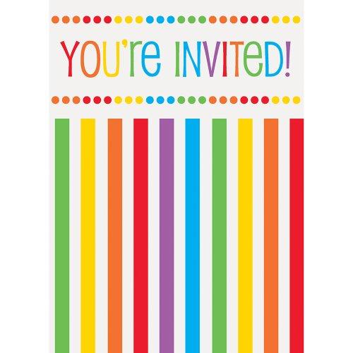 Partygram - 8 tarjetas de invitaciones, Arcoíris  (47124)