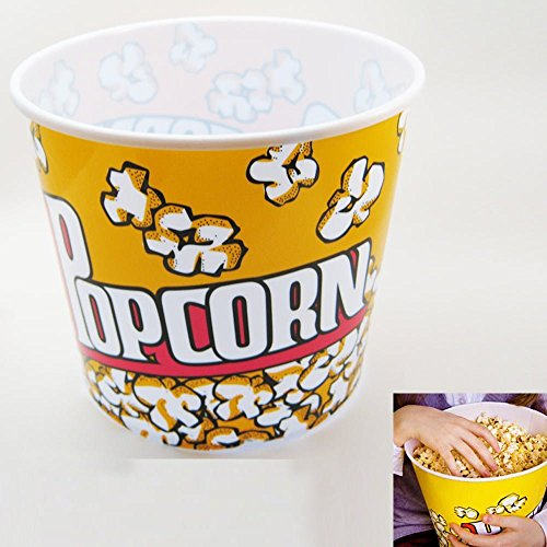 Retro Style Popcorn Bowl Large Plastic Container, Reusable Tub Movie Theater Bucket (Theater Style Popcorn Bags compare prices)