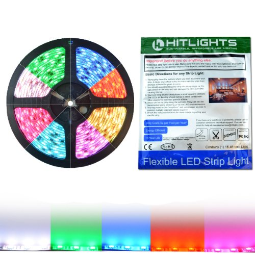 Hitlights Weatherproof Mutli Color Changing High Density Led Flexible Ribbon Strip, 16.4 Ft (5 Meter), 300 Leds, 12Vdc Input (Power Adapter Not Include)