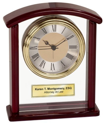 Astor Arch Cherry Wood Desk Clock with Glass and Gold Engraved Personalized Plate. Nice Retirement Gift, Service Award, Employee Recognition, Birthday or Graduation Present