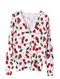 PrettyGuide Women V Neck Cherry Print Cardigan Cotton Sweater Knitwear