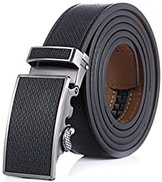 Marino Men\'s Wide Rimmed Imprinted Leather Ratchet Dress Belt with Automatic Buckle, Enclosed in an Elegant Gift Box - Black Leather Buckle with Black Leather - Custom: Up to 44\