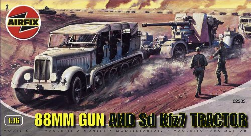 Airfix A02303 1:76 Scale 88mm Gun and Tractor Military Vehicles Classic Kit Series 2