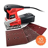 Hi-Spec Heavy Duty 240W Orbital Sheet Palm Sander with Dust Collector & 10pc Sanding Pad Kit Great for Removing Paint, Varnish, Stains, Preparing Furniture, Polishing & Sanding Down Wood Hand Sander (Color: C. Palm Sander)