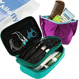 Amazon Com Kilofly Double Sided Cosmetic Bag Toiletry