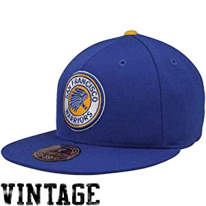 Golden State Warriors Blue Mitchell & Ness Hardwood Classics Basic Logo Fitted... by Mitchell & Ness
