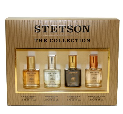 Stetson Variety by Coty for Men. Set-4 Piece Variety With Stetson & Stetson Fresh & Stetson Black & Stetson Rich Suede And All Are Cologne .5-Ounces